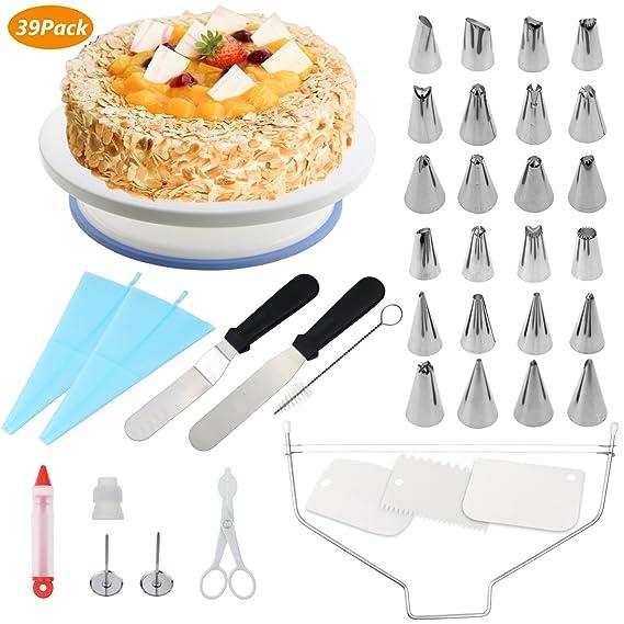 WisFox Tortenplatte Drehbar Tortenständer Kuchen Drehteller Cake Decorating Turntable mit Zuckerguss, Spritzbeutel und Tipps-
