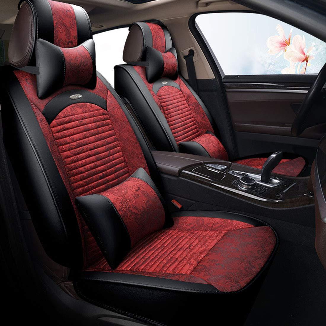 YUMUYMEY Verschleißfestes Leder-luftdurchlässiges Autokissen Volles Paket-Design von fünf universell geeigneten Kissen für Vier Jahreszeiten (Color : Red)