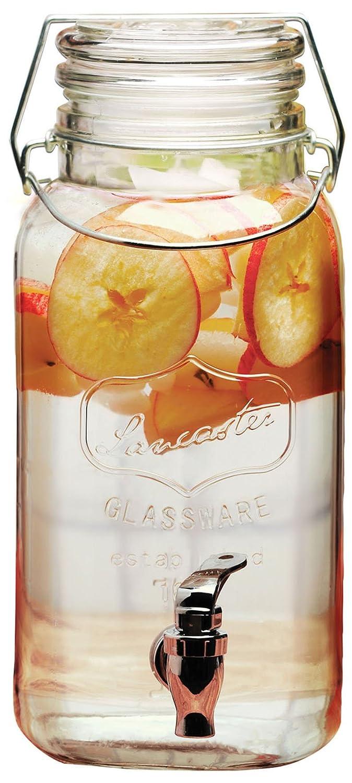 Circleware Lancaster Yorkshire Mason Jar Glass Beverage Dispenser with Hermetic Locking Lid, Glassware For Water, Juice, Beer, Wine, Liquor, Kombucha Iced Tea Punch & Cold Drinks, 1 Gallon