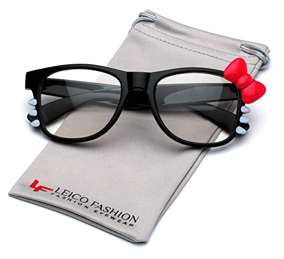 5673eb143a4e Image Unavailable. Image not available for. Color: Hello Kitty Bow Women's  Fashion Clear Lens Glasses ...