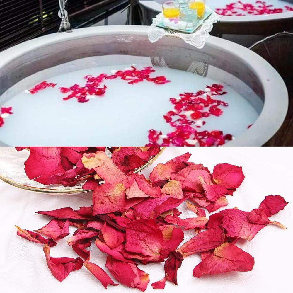 200 Gramos P/étalos de Rosa Secospara Ambiente Rom/ántico P/étalos de Rosa Naturales para Pies Ba/ño SPA Boda Confeti
