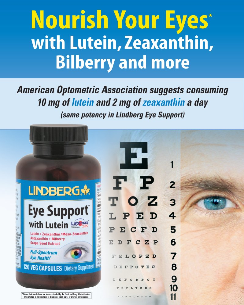 Amazon.com: Lindberg Eye Support* with Lutein (60 Capsules): Health &  Personal Care