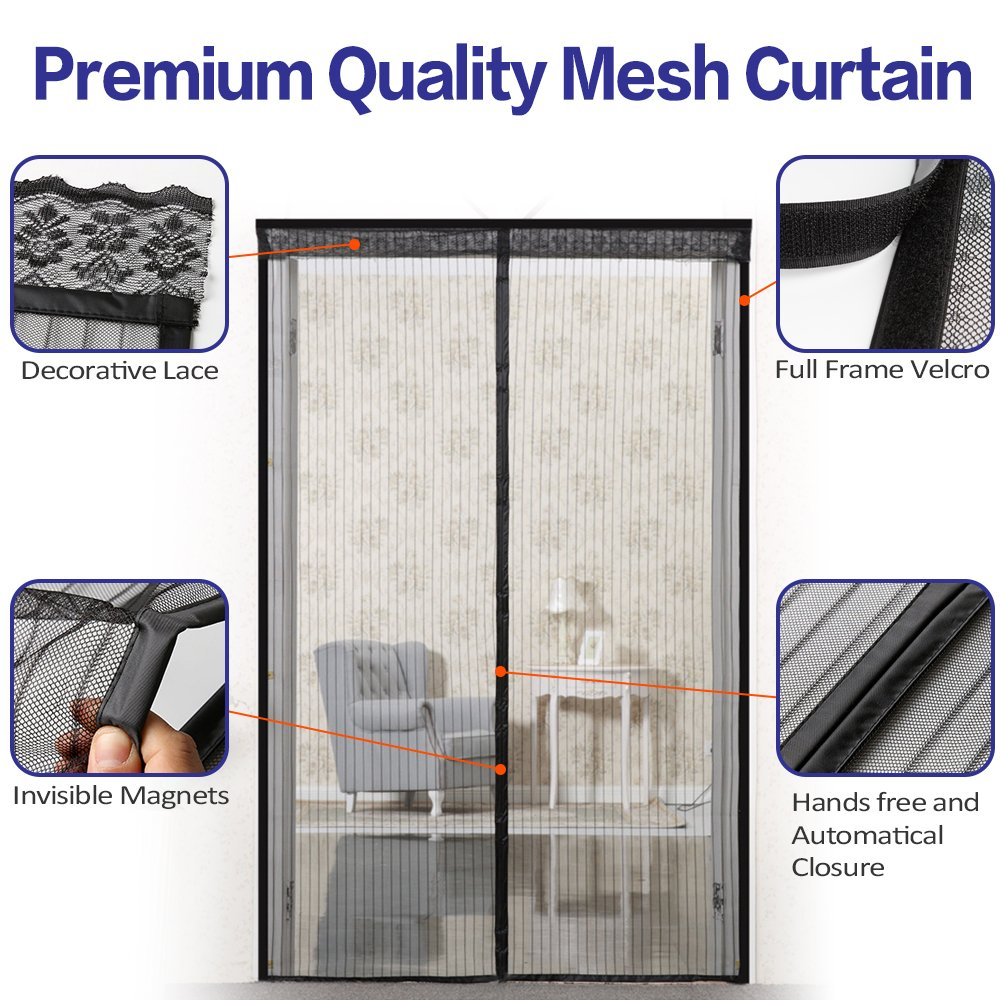 72w x 80h hands free magnetic screen door for french doors 72w x 80h hands free magnetic screen door for french doors full frame velcro bug mesh curtain keep bugs insects mosquitos out black amazon vtopaller Image collections