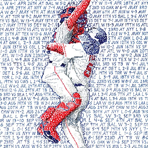 Boston Red Sox 2007 Printed - 2007 Boston Red Sox World Series Wall Art Print - Handwritten with every game of the season - Red Sox Poster - Boston Wall Decor