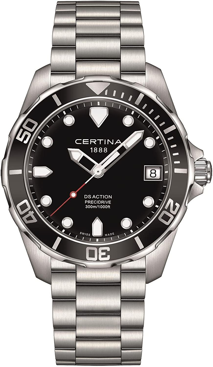Certina DS Action – 3 Hands Black Dial Stainless Steel Mens Watch C0324101105100