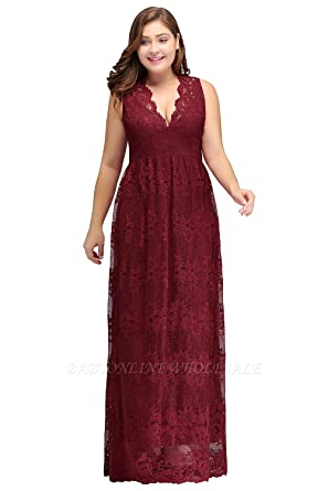 6d7392f0d3e KuDress A-Line V-Neck Floor Length Sleeveless Lace Burgundy Plus Size Bridesmaid  Dresses (18W