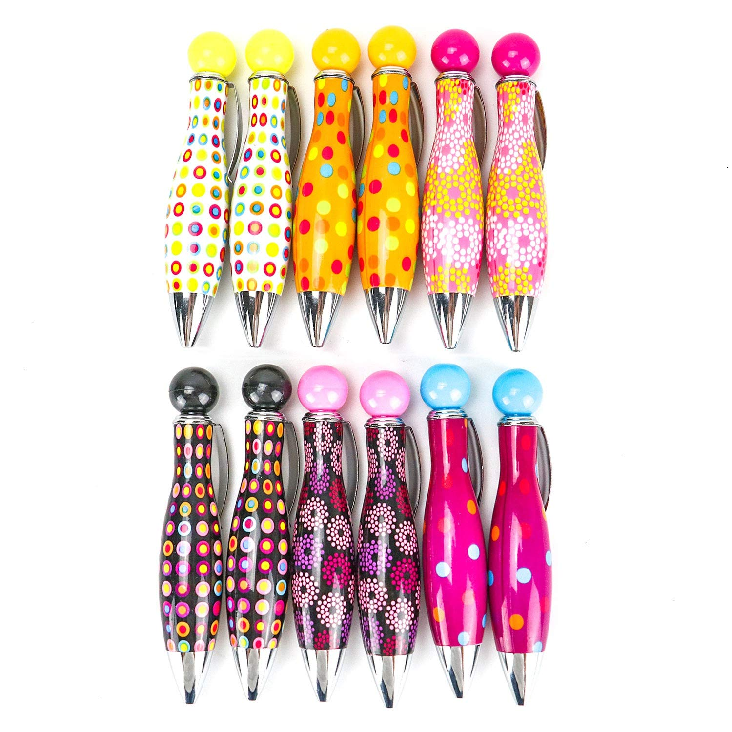 IDS 12Pcs Cute Retractable Bowling Style Mini Ballpoint Pens, Colorful Pen Shell,0.5mm Blue Ink for Writing,Student Gift School Office Supplies