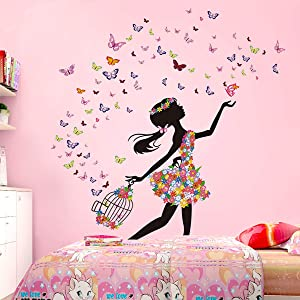 DEKOSH Girl Wall Decals for Baby Nursery | Peel & Stick Decorative Wall Art Sticker for Teen Girl Bedroom, Playroom Mural