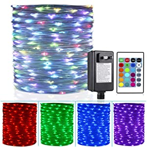 HAHOME 66Ft 200LEDs Color Changing Outdoor String Lights,Multi-Colored