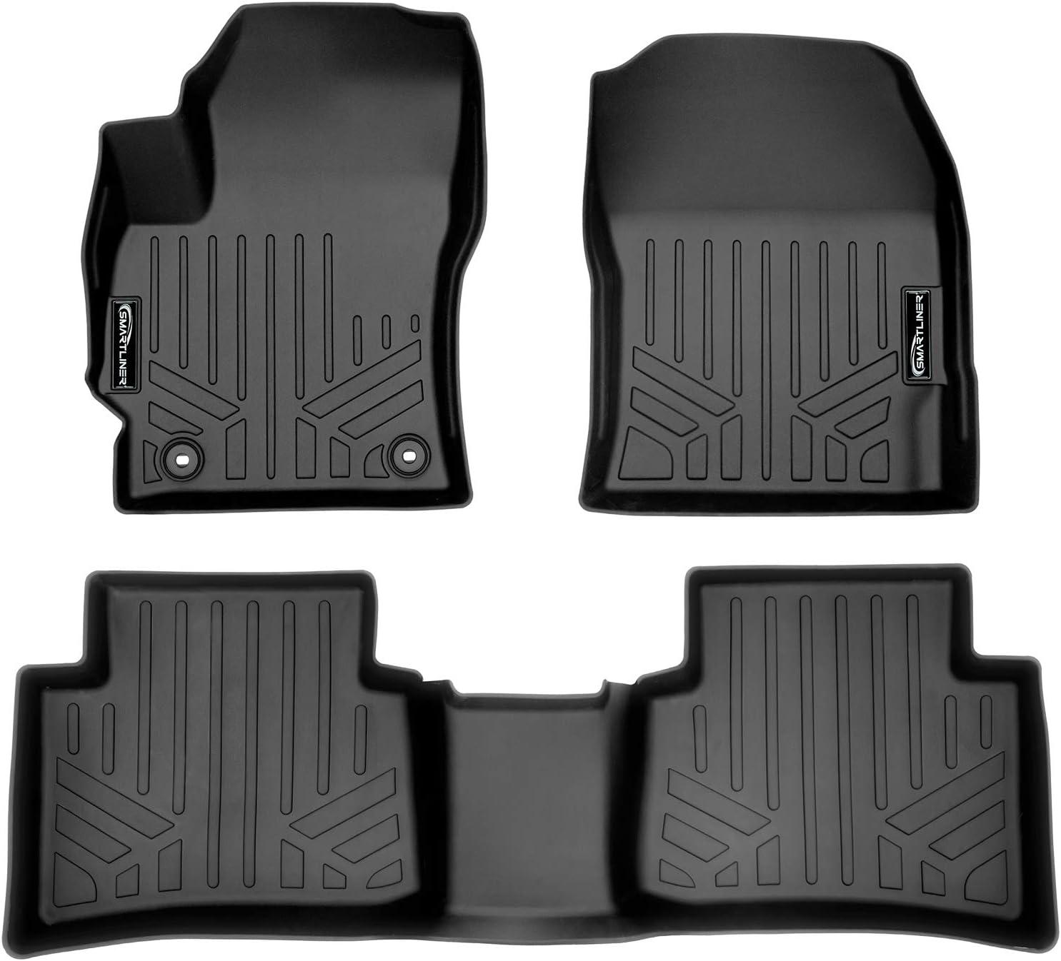 SMARTLINER Custom Fit Floor Mats 2 Row Liner Set Black for 2020 Toyota Corolla Sedan