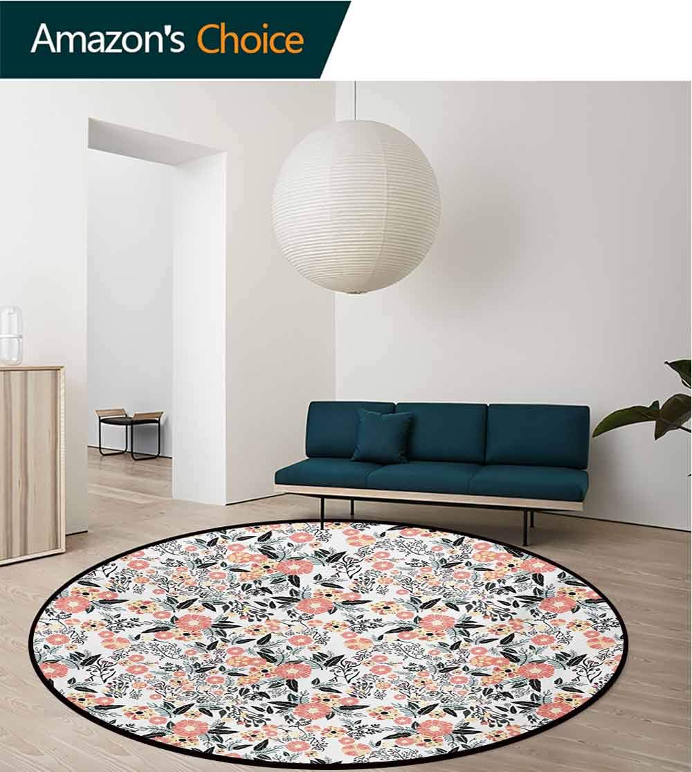 RUGSMAT Leaf Machine Washable Round Bath Mat,Abstract Garden Flowers Fresh Spring Nature Inspired Retro Style and Romantic Blossoms Non-Slip No-Shedding Bedroom Soft Floor Mat,Diameter-59 Inch