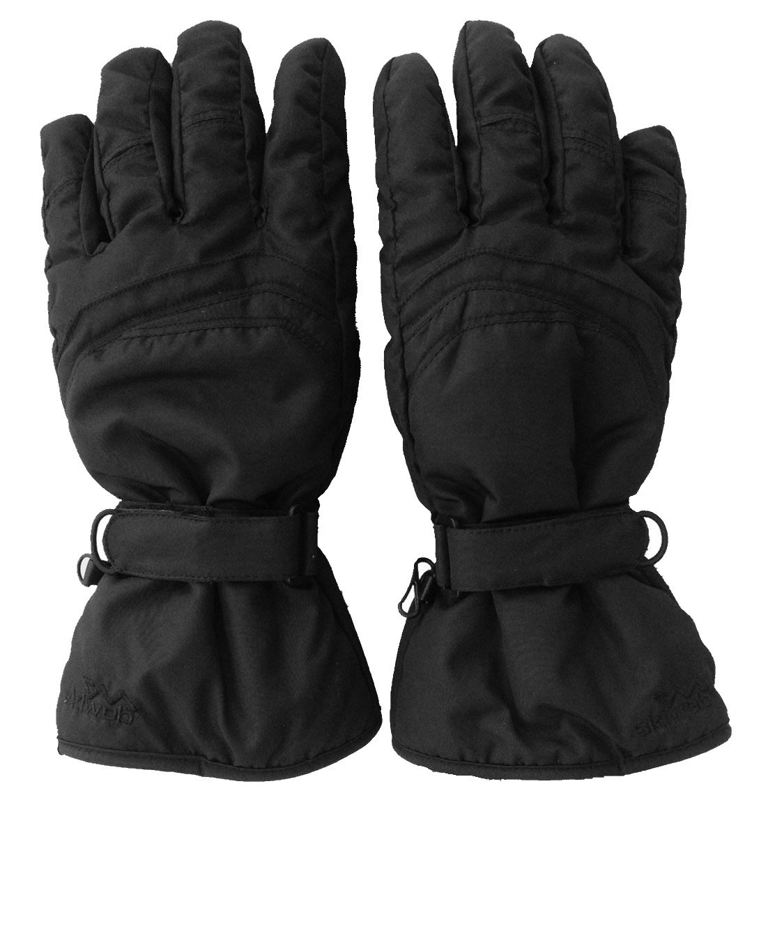 Womens Black Ski Gloves - Water Resistant & PU Palm For Grip - Sizes XS - Large Skiweb