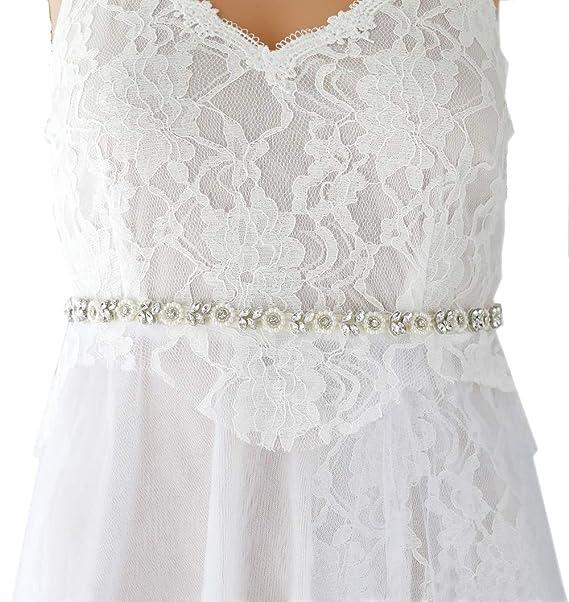 Wedding Dress Accessories.Campsis Women S Bead And Rhinestone Bride Wedding Belts Bridal Sash