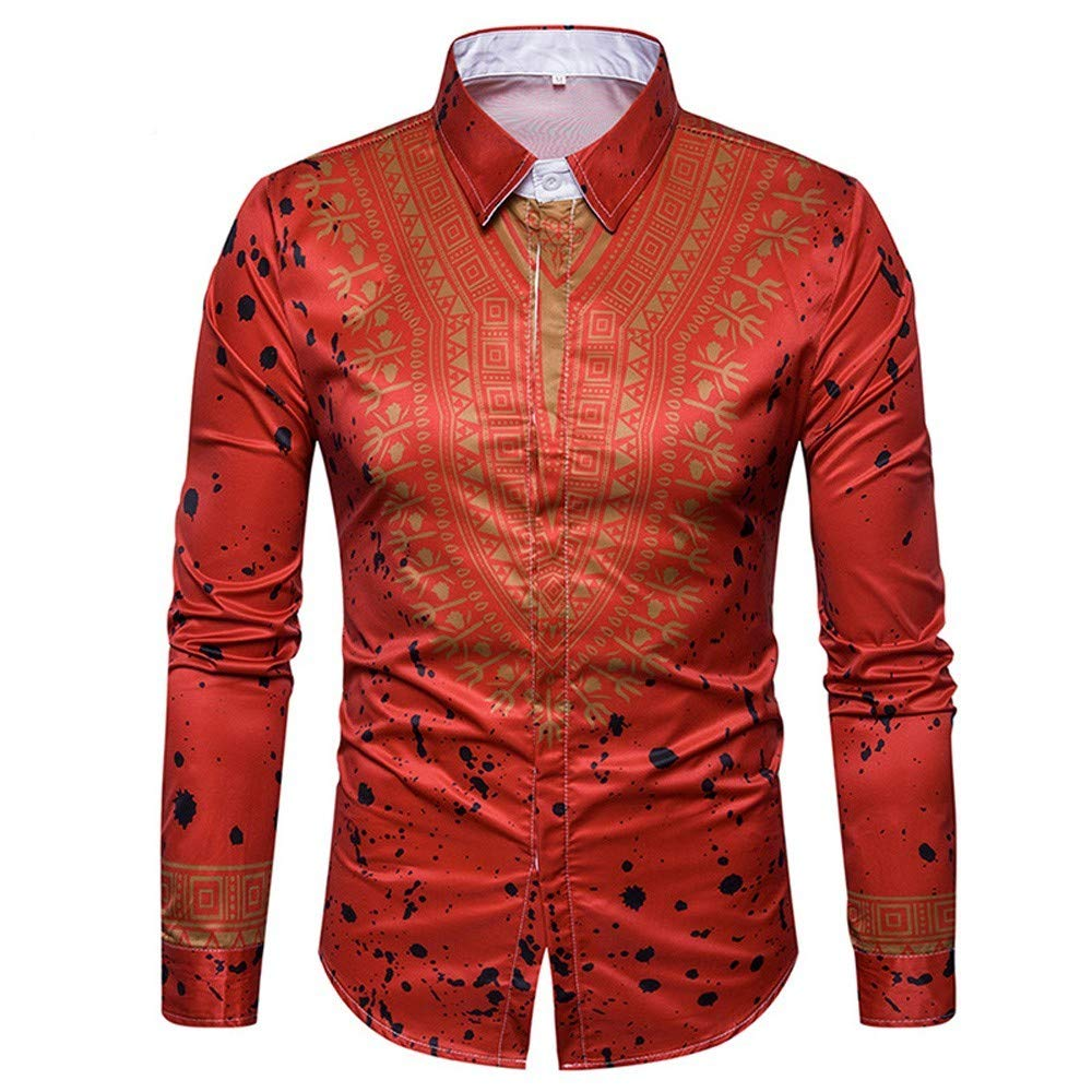 Clearance!Men's Spot Casual Slim Print African Pullover Long Sleeved Shirt Top Blouse minRan Dressin0919