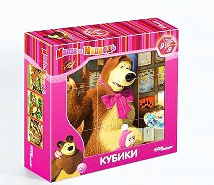 Amazon.com: 9 piezas plástico cubos Masha y el oso, dibujos ...