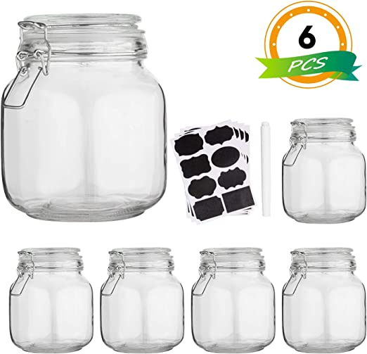 Glass Kitchen Storage Canister Mason Jars with Lids,32oz Airtight Glass  Canister with Hinged Lid,Perfect for Kitchen Canning  Cereal,Pasta,Sugar,Beans ...