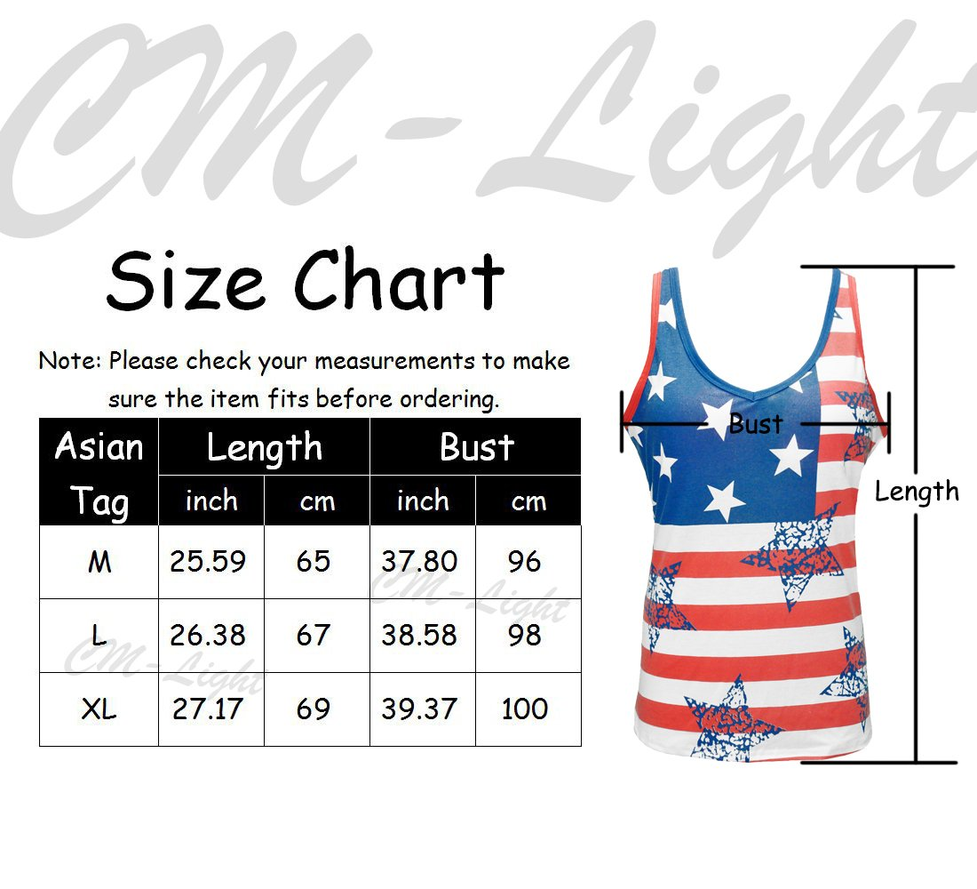 CM-Light Women T Shirts American Flag Printed Tee Cotton Camisole Cool Tank Tops For Women