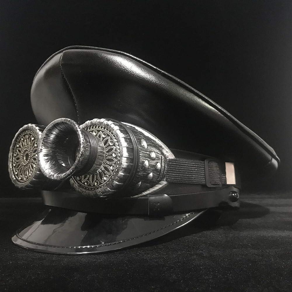 Gorra de Piel Negra de JIALUN, con Visera de Oficial alemán, Gorra ...