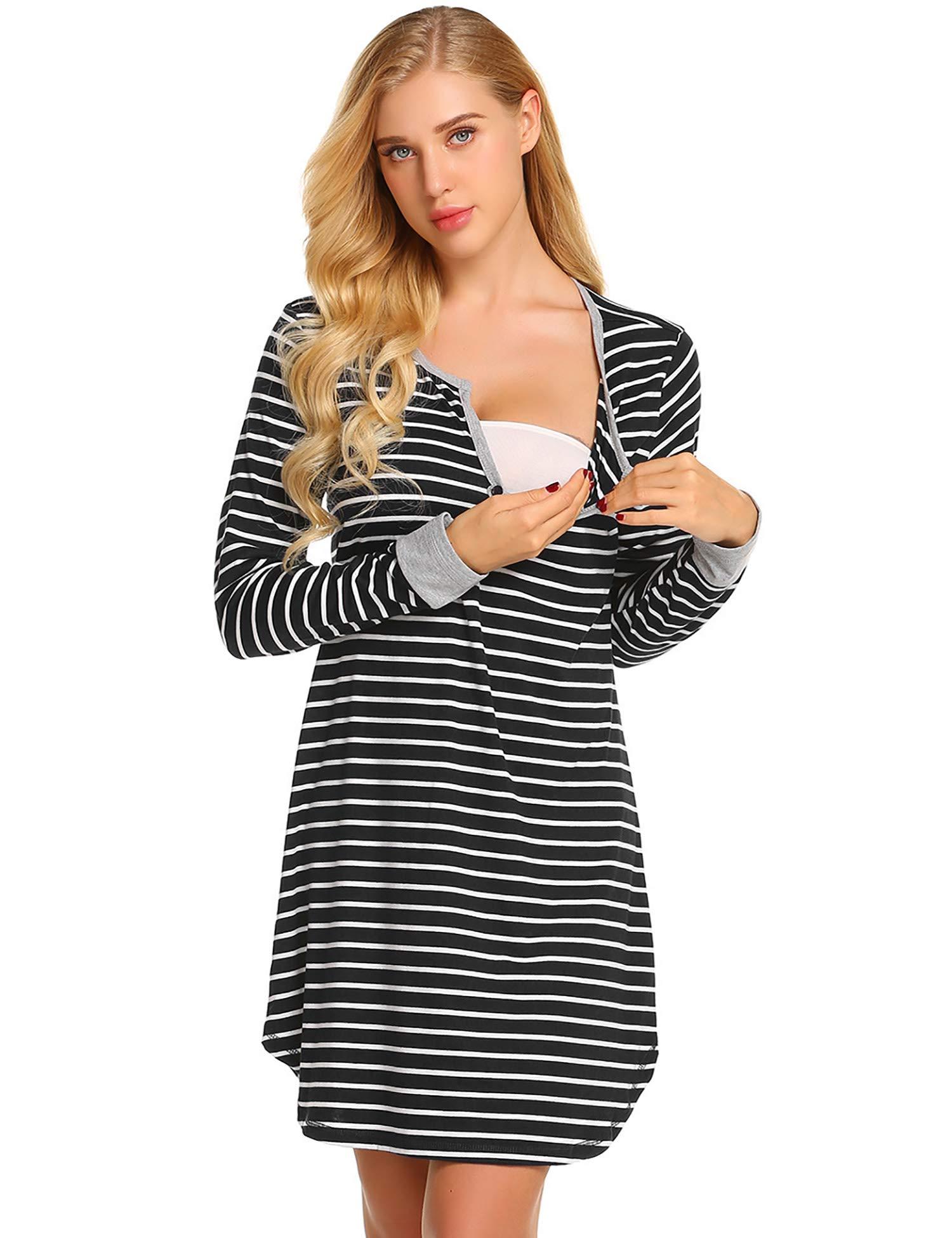 Ekouaer Women's Long Sleeve Nursing Dress Striped Maternity Dress Breastfeeding S-XXL by Ekouaer
