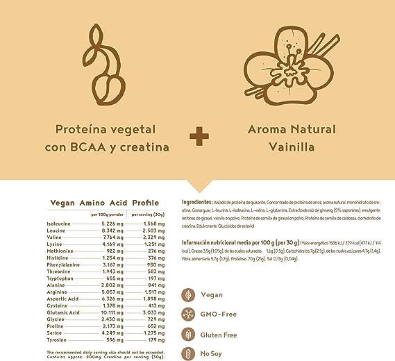 Proteina Vegana Musculos   VAINILLA   Proteína vegetal de ...
