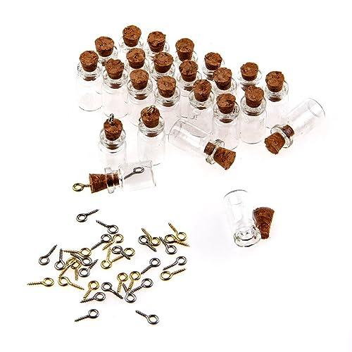 TININNA 50 Pcs Mini Botellas de Vidrio Tubos para Decoración DIY Artesanía Collar Correa,18