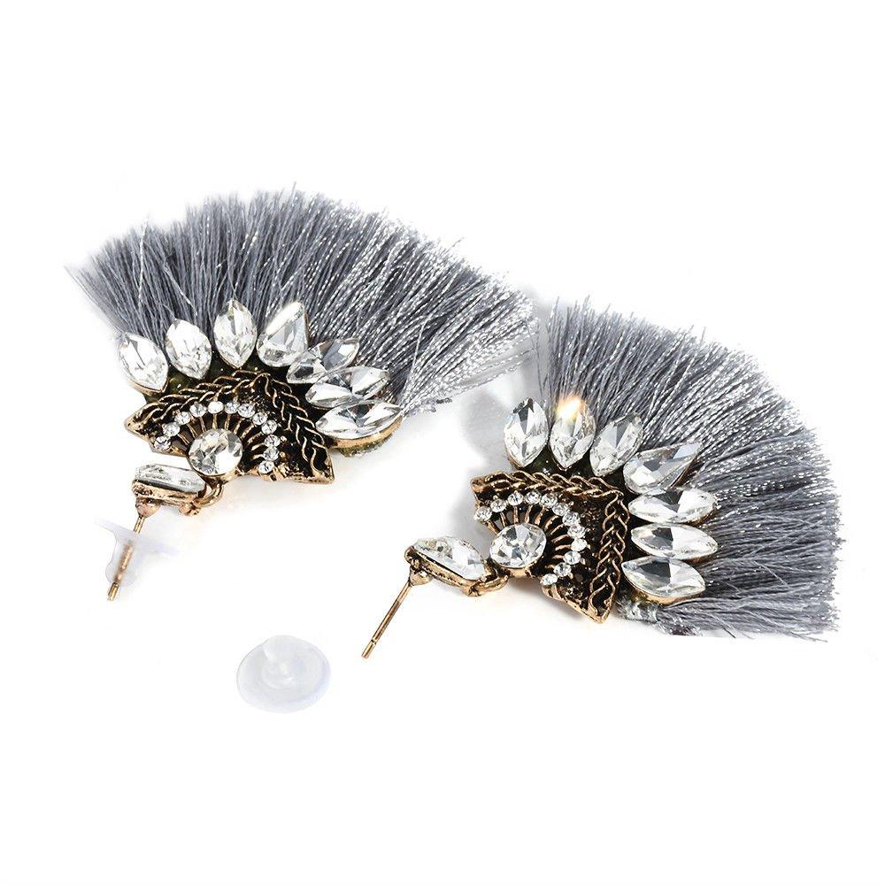 Fashion Women Crystal Rhinestone Tassel Drop Dangle Ear Stud Earring Jewelry LOVE STORY (Black) by LOVE STORY (Image #4)