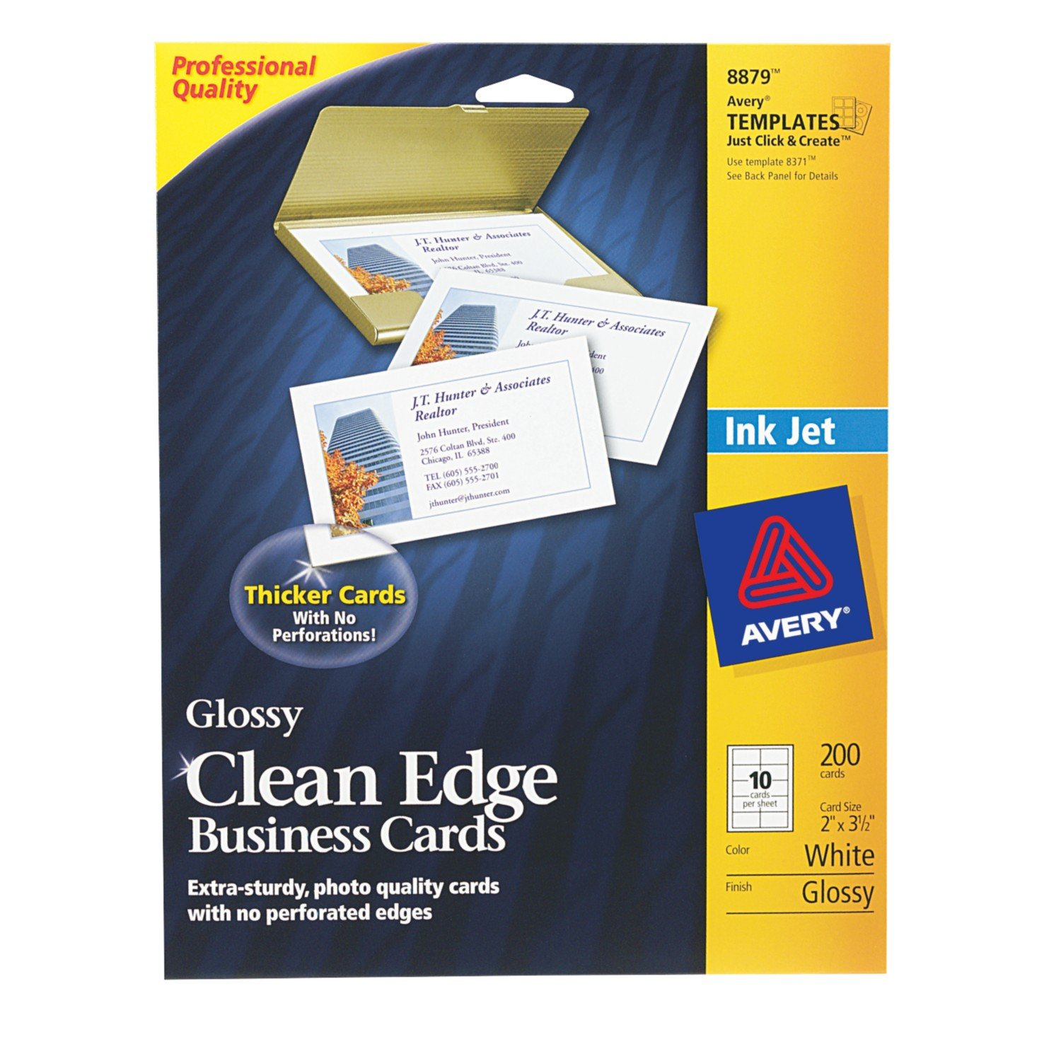 Amazon avery clean edge business cards for inkjet printers amazon avery clean edge business cards for inkjet printers glossy white pack of 200 08879 business card stock office products reheart Choice Image