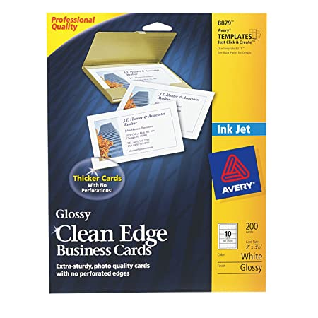 Amazon avery clean edge business cards for inkjet printers amazon avery clean edge business cards for inkjet printers glossy white pack of 200 08879 business card stock office products reheart Images