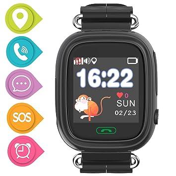 SmartWatch Teléfono Niño Niña,Pantalla táctil Reloj Inteligente Localizador GPS LBS WiFi con Chat de Voz SOS Cámara Despertador Reloj Digital Watch ...