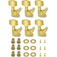 Metallor Sealed String Tuning Pegs Tuning Keys Machines Heads Tuners 6 In Line Right Handed Electric Guitar Parts (Gold)
