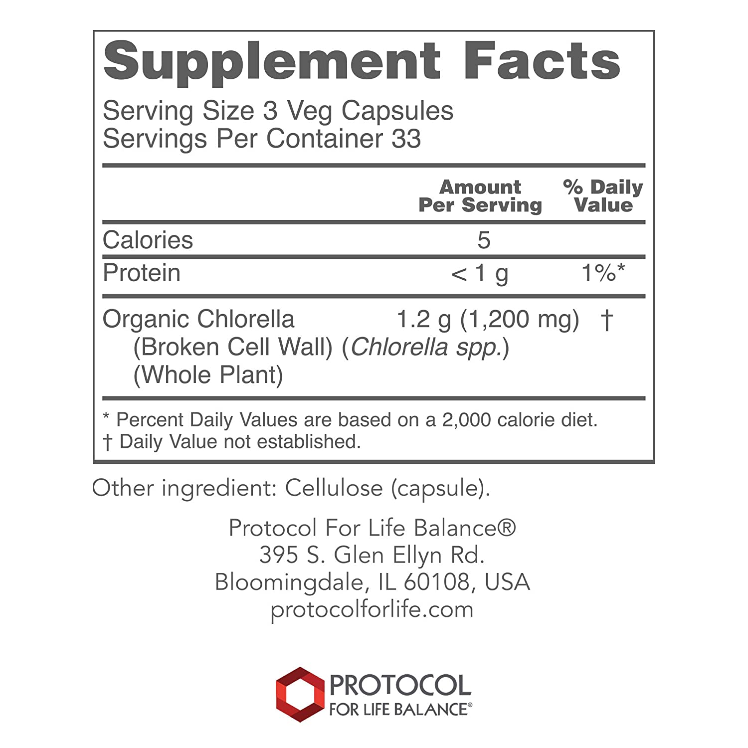 Protocol For Life Balance – Chlorella 400 mg – Natural Antioxidants Rich in Chlorophyll Carotenoids, Supports Healthy Immune System Function, Natural Detox, Healthy Weight Loss – 100 Vcaps