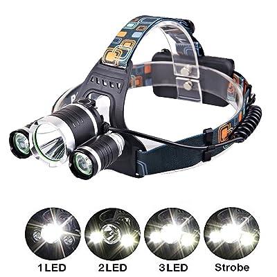 Genwiss 6000LM CREE XM-L XML 3T6 LED rechargeable headlamp Tourch 2 * 18650 pour les activités sportives (batterie et chargeur inclus)