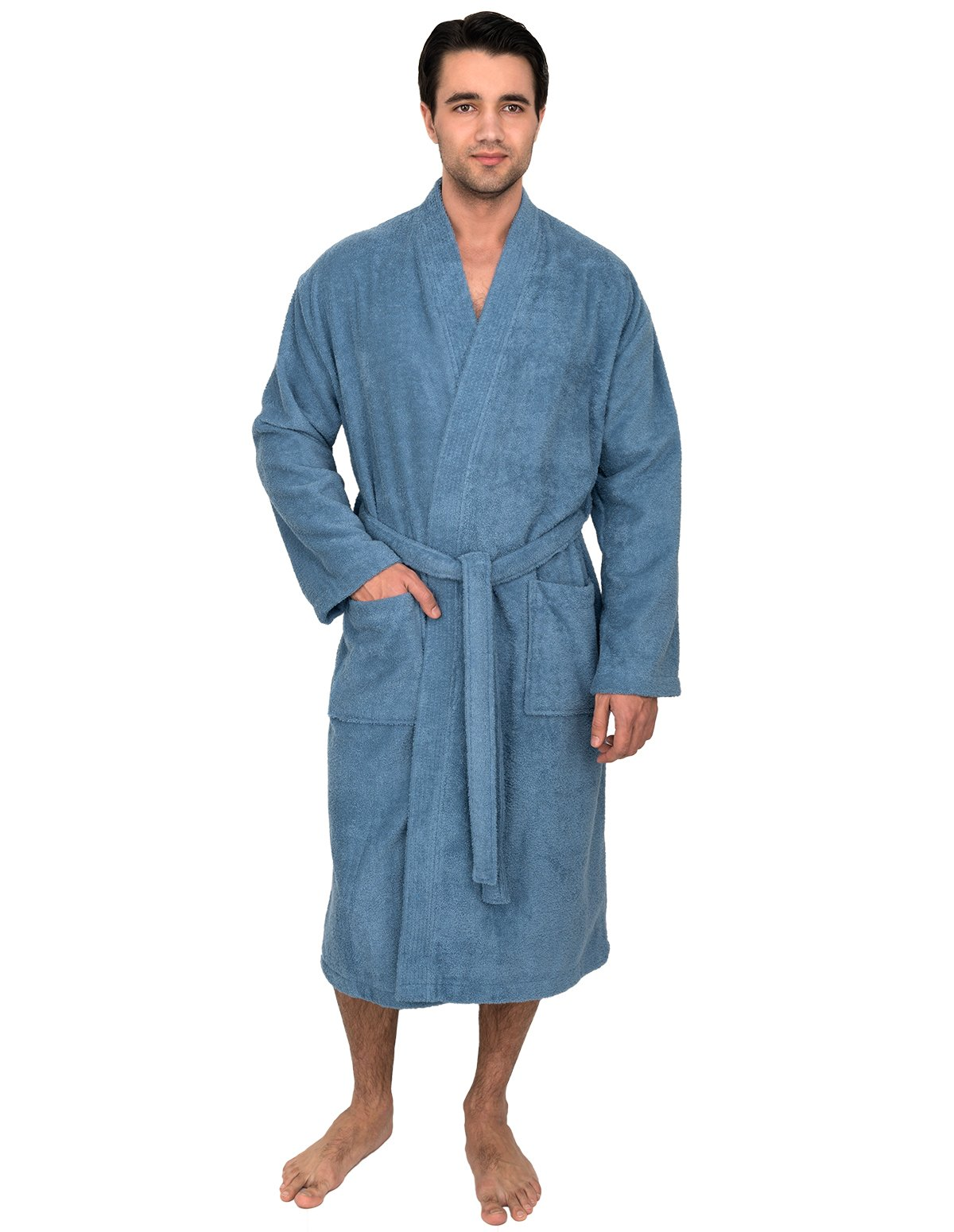 TowelSelections Men's Robe, Turkish Cotton Terry Kimono Bathrobe Medium/Large Blue Heaven