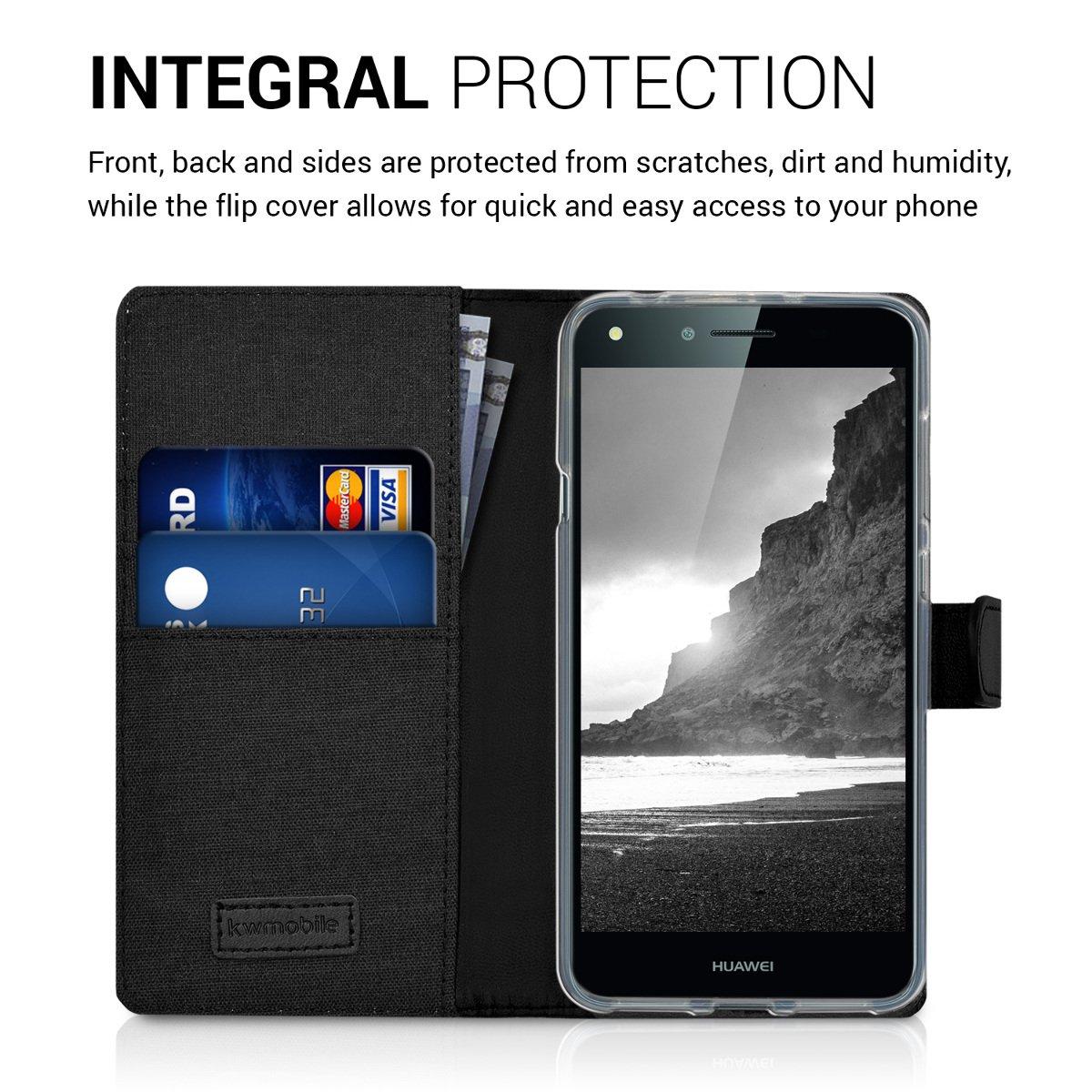 kwmobile Funda compatible con Huawei Y6 II Compact (2016) - Carcasa de tela y cuero sintético tarjetero antracita / negro