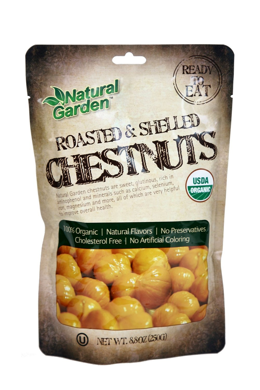 ** 8 Pack ** Natural Garden 100% Roasted & Peeled Organic Chestnuts - (8.8oz / 250g)