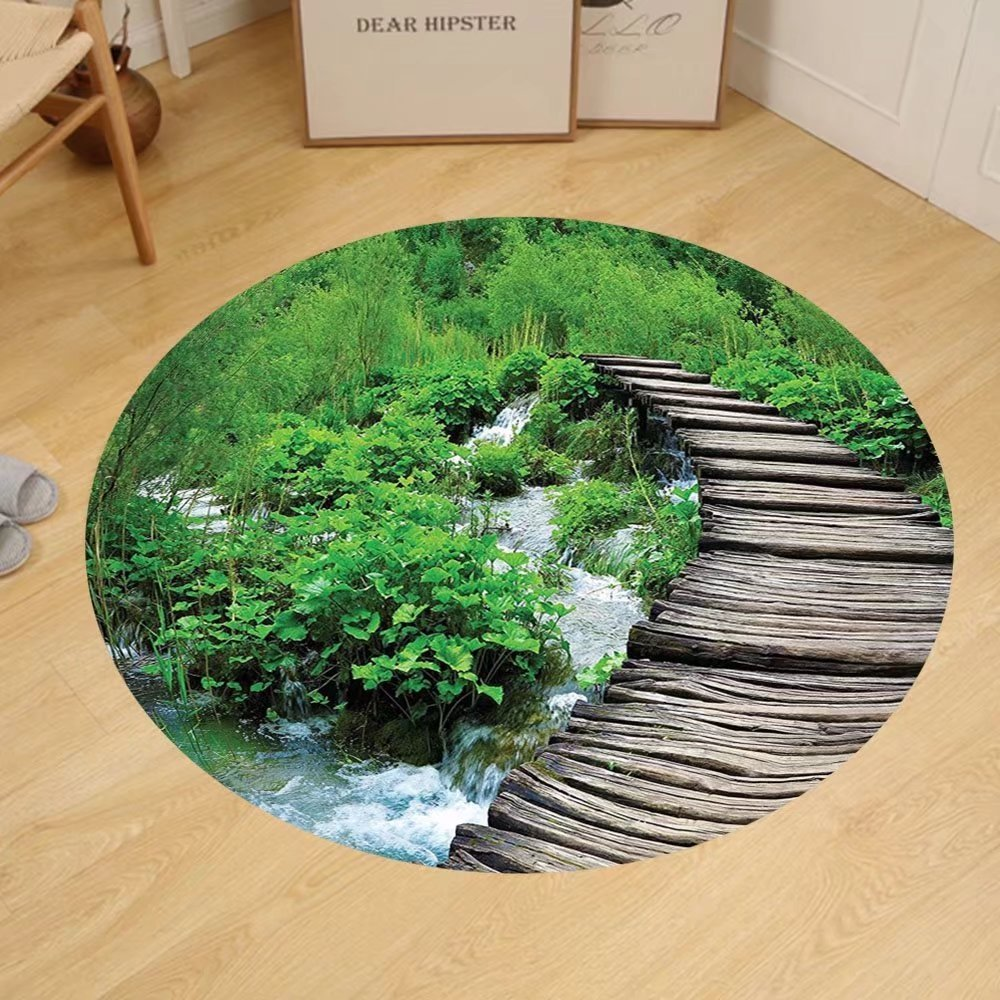 Gzhihine Custom round floor mat House Decor Aerial View of A Pool in A Health Resort Spa Hotel with Exotic Elements Sports Modern Photo Bedroom Living Room Dorm Decor Multi