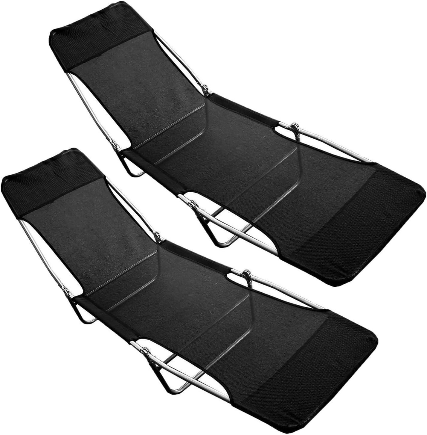 Pack de 2 plegable al aire libre jardín sun cama Textoline tumbona reclinable silla relajante New: Amazon.es: Jardín