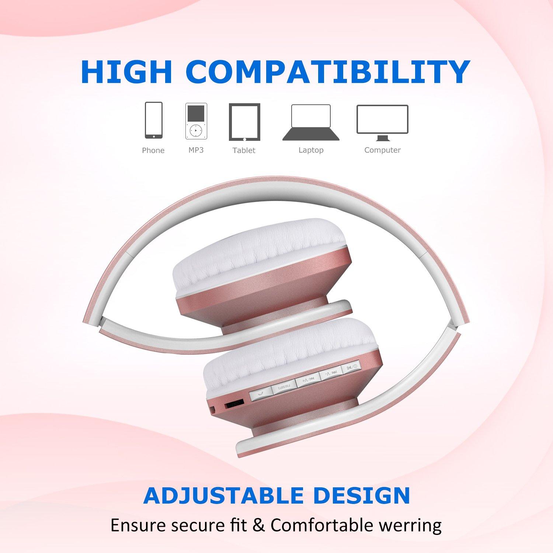 Esonstyle Plegable 4 en 1 Auriculares Inalámbricos Bluetooth Estéreo Auriculares con Micrófono / Audio cable, Apoyo Tarjeta SD, Radio FM para iPhone, iPad, ...