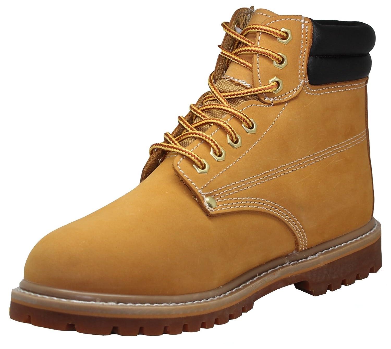 Men's / Women's Unisex 6 Inch Oil Resistant Leather Plain toe Wheat Nubuck Work Boots - Sizes 5-13