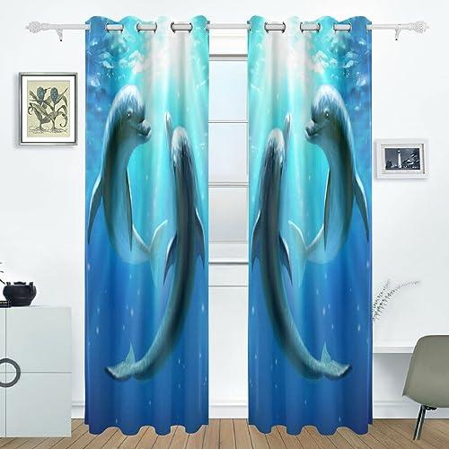 Use4 Underwater World Dolphin Love Window Curtain Panels Drape 84 x 55 inches
