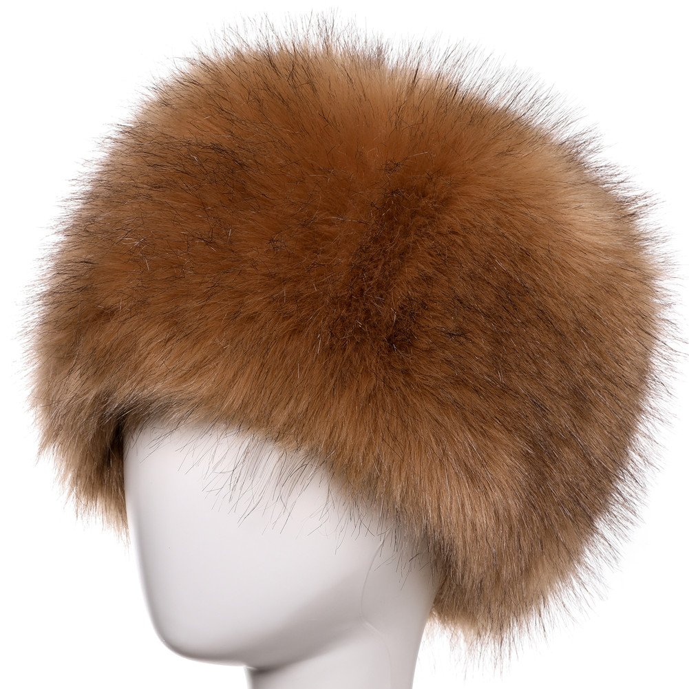 Dikoaina Faux Fur Cossack Russian Style Hat for Ladies Winter Hats for Women  Khaki dd1917dc93d1