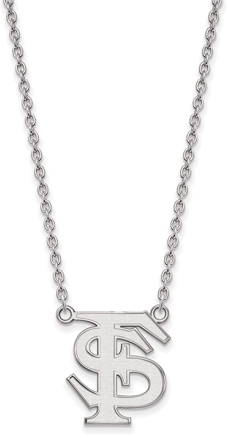 Florida State Seminoles School Letters Logo Pendant Necklace in Sterling Silver 19x17mm 18 Inches