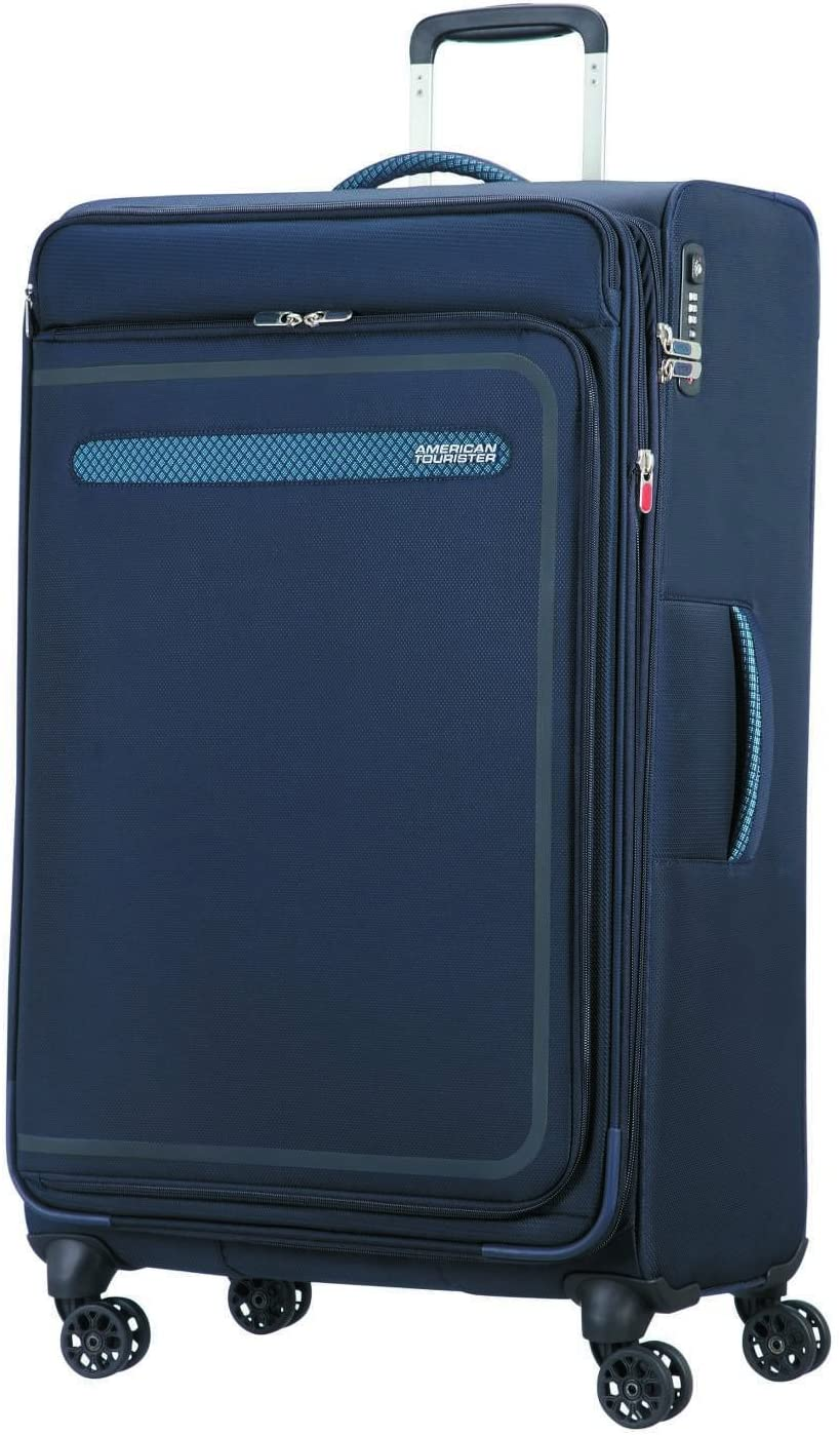 American Tourister Airbeat - Spinner 80/30 Expandable Equipaje de Mano, 80 cm, 112 Liters, Azul (True Navy)