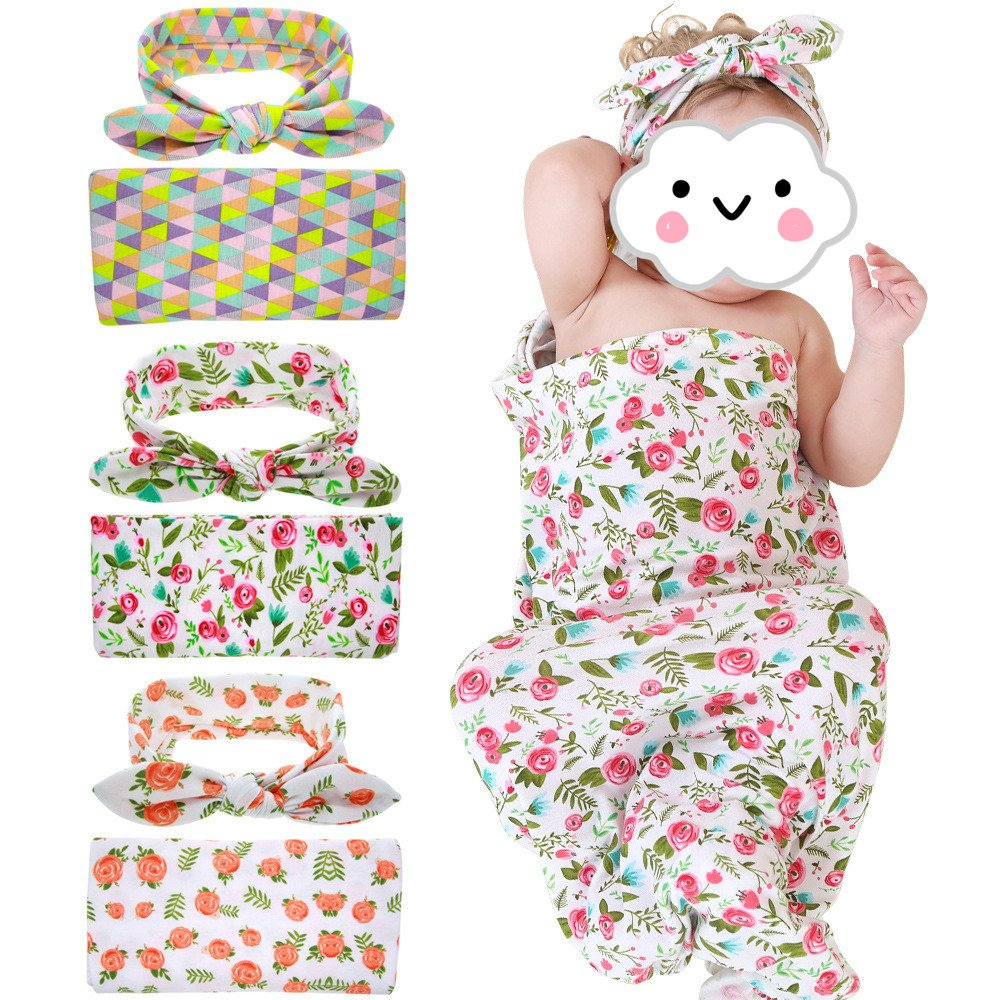Swaddle Blanket Headband with Bow Flower Receiving Blankets Set for Newborn baby