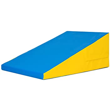 best choice products incline gymnastics mat training foam triangle gym tumbling wedge blue yellow