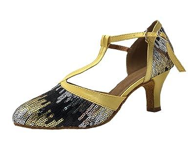 Honeystore Damen's Geschlossene Zehe T-Riemen Glitter Tanzschuhe Gold 3.5 UK tMroxamHkP