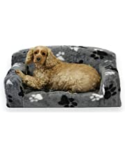Fur Paws – Faux Fur Pet Sofa. Nice Pet Settee. Very Soft Dog bed. Removable cover for animal Couch. Inner material is high grade foam. UK MANUFACTURER (Grey with paws, Small 82 x 46 x 34cm)