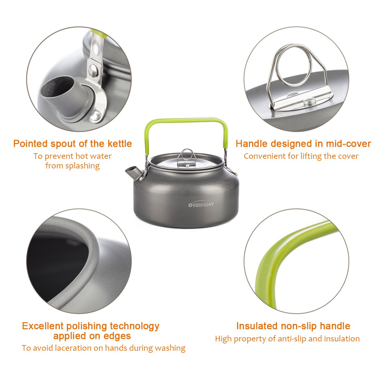 Overmont Hervidor Tetera de Agua port/átil de Aluminio Aprobado FDA para Acampar Senderismo Camping al Aire Libre Ultraligero