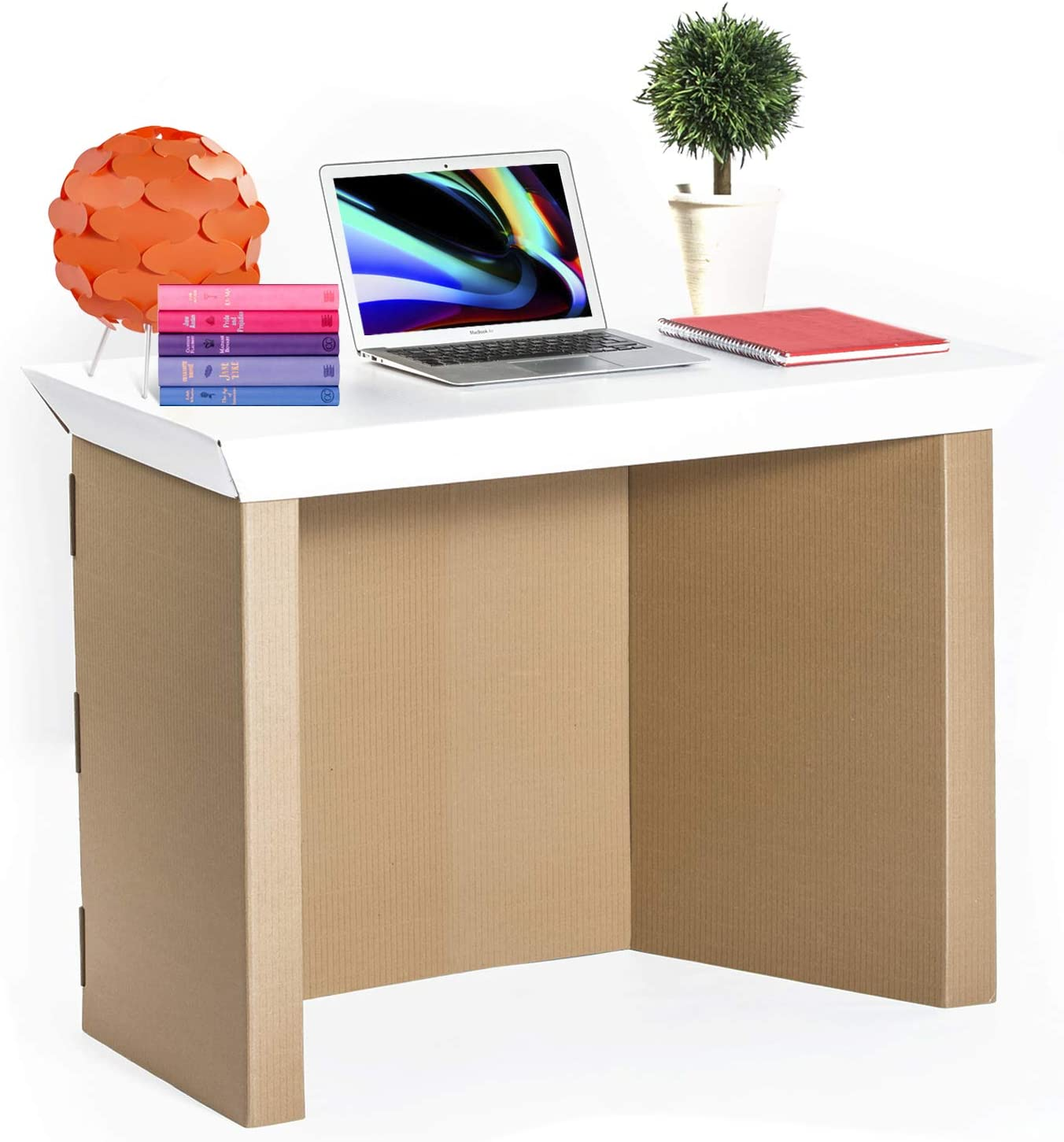 """Cardboard Computer Desk for Home Office– 39"""" Writing Laptop Table Made of Recyclable Water Resistant Cardboard for Bedroom and Small Spaces – Eco-Friendly Modern Study Tables- Sturdy and Long Lasting"""