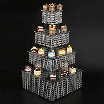 Amazoncom Tier Clear Acrylic Square Cupcake Stand Wedding - Cupcake chandelier stand crystals